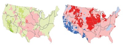 Maps of projected runoff changes in the 2030s
