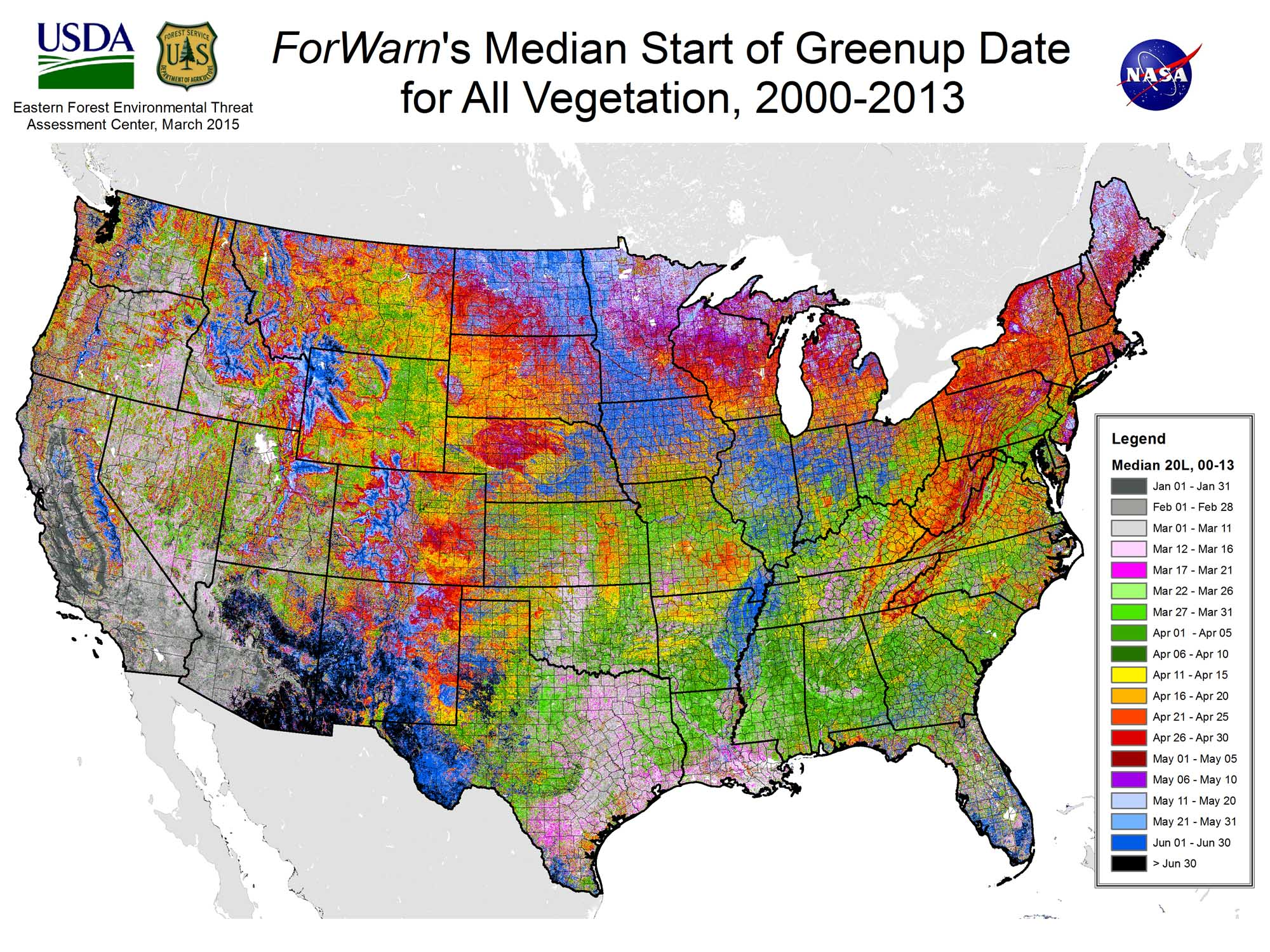 Map Of Usa Forests.Researchers Map Seasonal Greening In U S Forests Fields And Urban