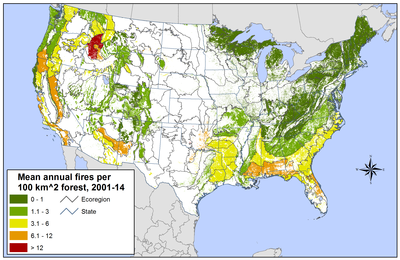 ecoregion fire occurrence, 2001-2014