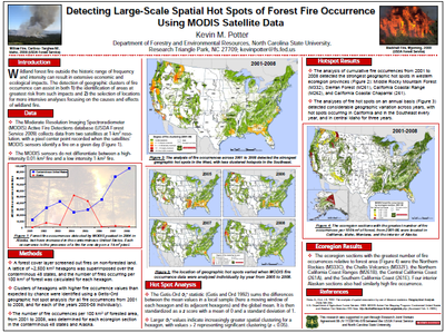 detecting large-scale spatial hot spots of forest fire occurrence using modis satellite data